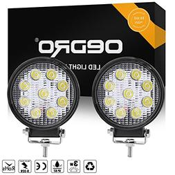 oEdRo 2pcs 12volt 4 Inch led work lights 27W Flood Round Off