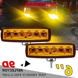 pair led fog lights 6inch yellow driving