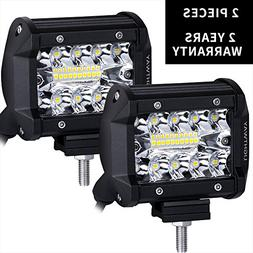 Liteway LED Pods - 2 Pcs 4 inch Triple Row LED Light Bar Spo