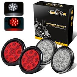 "Partsam 4X Red/White 4"" Round 12 LED Stop Tail Turn Signal B"