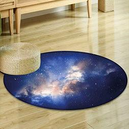Round Area Rug Lights in Cloudy Sky Magical View Stars in T
