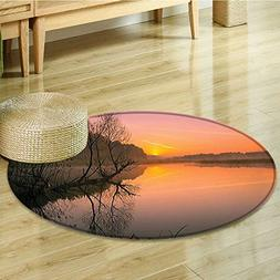 Small round rug Carpet Misty Morning Sunrise Tree Silhouette