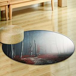 Small round rug Carpet romantic light through the fog shine