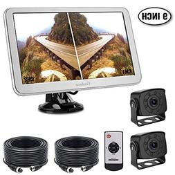 RV Backup Camera with 9inch Split Monitor Kit, 2 Wide Angle