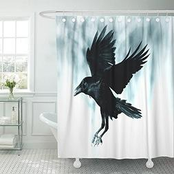 Emvency Shower Curtain Polyester 72x72 Inches Black Raven Fl