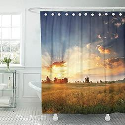 Emvency Shower Curtain Polyester Print 72x78 Inches Blue Sky