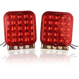 Square Red Trailer Lights, 20 LED Waterproof Trailer Brake L