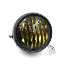 uxcell 6.5inch 12V 35W Yellow Light Motorcycle Headlight Gri