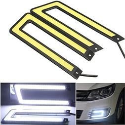 CHAMPLED® 2x White 6000K COB Led Daytime Running Light DRL