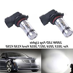 2x 6000K White 100W LED Fog Lights Bulbs For 2015 2016 2017