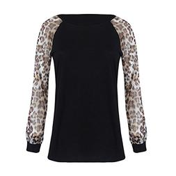 UONQD Woman Womens Leopard Blouse Long Sleeve Fashion Ladies